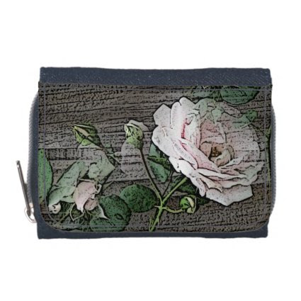 Roses on Weathered Wood Wallet