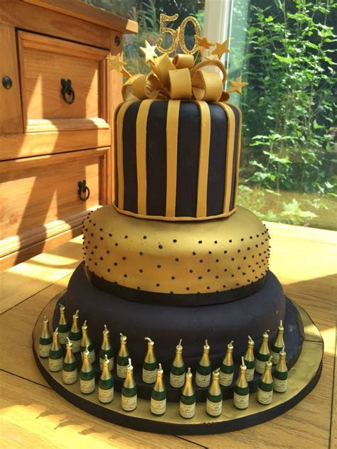 50th birthday cake celebration for black and gold theme