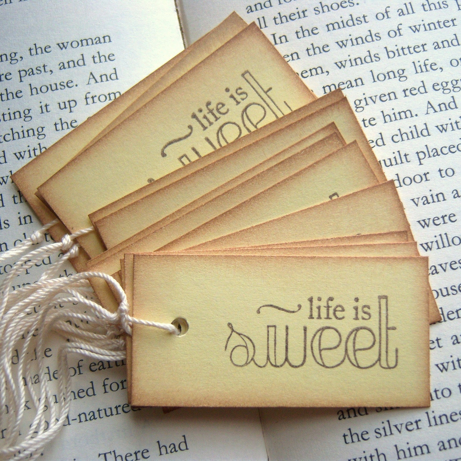 Life is SWEET Yellow and Vintage Inspired Hang Tags
