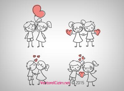 Vektörel çizim Sevgililer Aşk Kalp