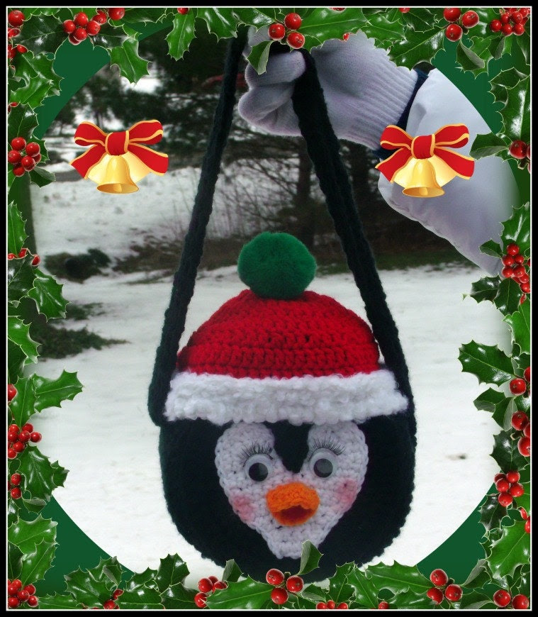 I Love Penguins Purse Crochet Pattern.This Is Not A Flat Purse.