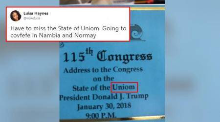 Donald Trump's 'State of the Uniom' typo tickets are out, and Twitterati can't get enough of it