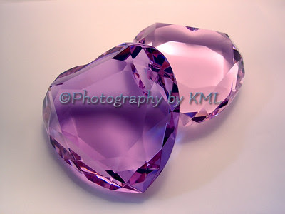 two crystal ice hearts