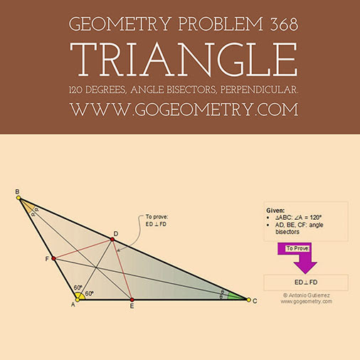 Typography of Problem 368. Triangle, 120 degrees, Angle bisectors, Perpendicular.