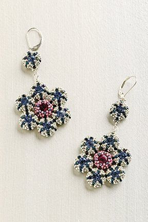 Retro Blossom earrings in the Oct/Nov issue of Beadwork Magazine, designed by Jill Wiseman