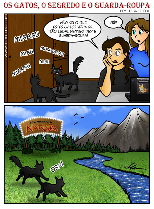 quadrinhos, os gatos, o segredo e o guarda-roupa, Nárnia by Ila Fox