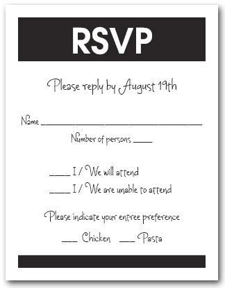 White and Black RSVP Cards, Reply Cards, Response Cards