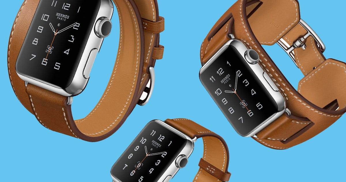 Hermes designed three different leather band styles for the Apple Watch: a single tour, a double tour, and a cuff design.