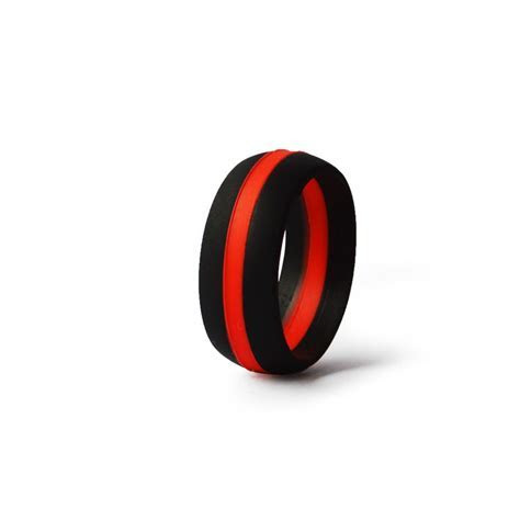 Men's BLACK/THIN RED LINE Silicone Wedding Ring ? KomFortRingZ