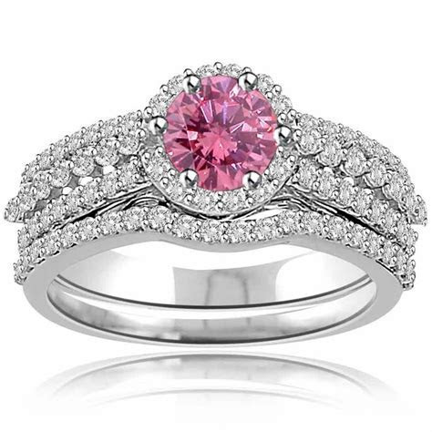 Pink Sapphire and Real Diamond Engagement Wedding Ring