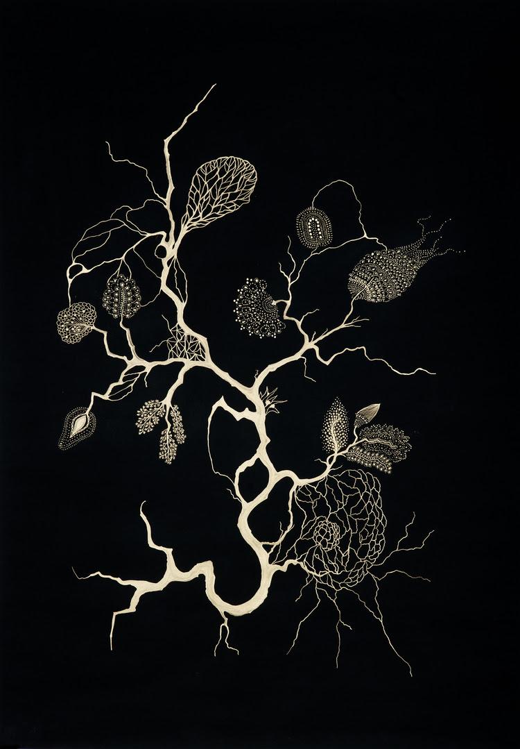 l'encre de la rivière Bras d'or sur papier noir 70 x 100 cm 2011