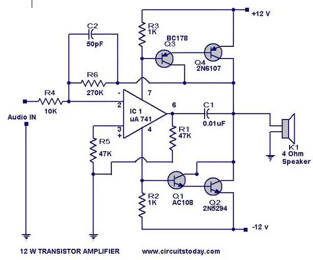 Amplifier Power Watts Transistor Schematic