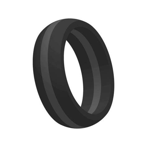 Mens Thin Gray Line Silicone Wedding Engagement Ring Band