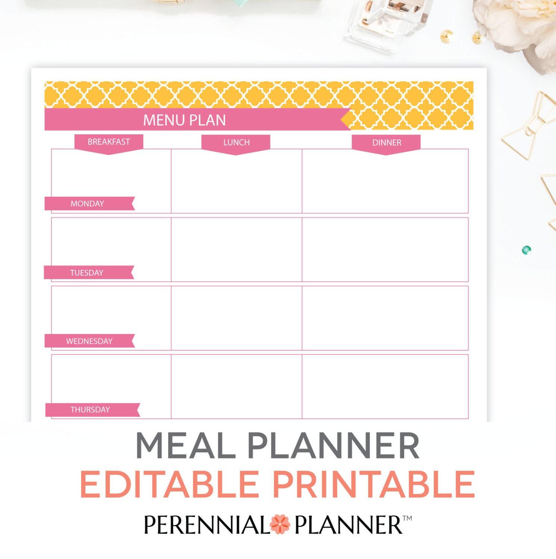 Meal Planner Printable Set EDITABLE Weekly by PerennialPlanner