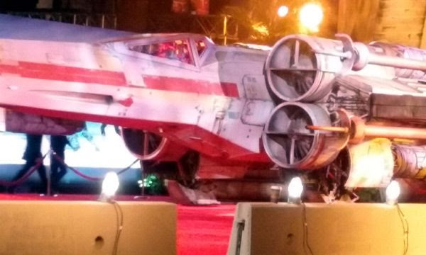 A close-up of the full-size X-Wing prop at the red carpet event for the ROGUE ONE: A STAR WARS STORY premiere...on December 10, 2016.