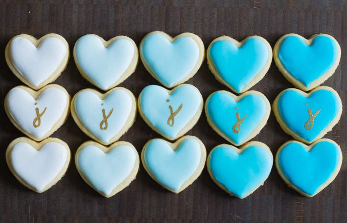 mini ombre heart cookies with gold painted monogram