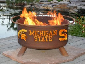 Michigan State University Wood Burning Fire Pit Grill