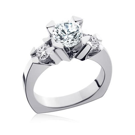 European Shank diamond and moissanite engagement ring