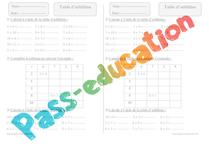 Table Daddition Ce1 Exercices à Imprimer Pass Education