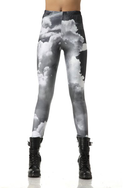 Cloud Print Elastic Waisted Leggings