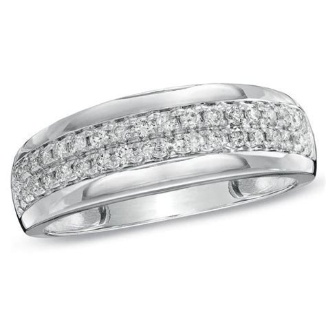 Men's 1/2 CT. T.W. Diamond Wedding Band in 10K White Gold