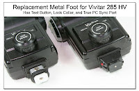PJ1055: Replacement Metal Foot for Vivitar 285 HV (Has test button, lock collar, and true PC sync port