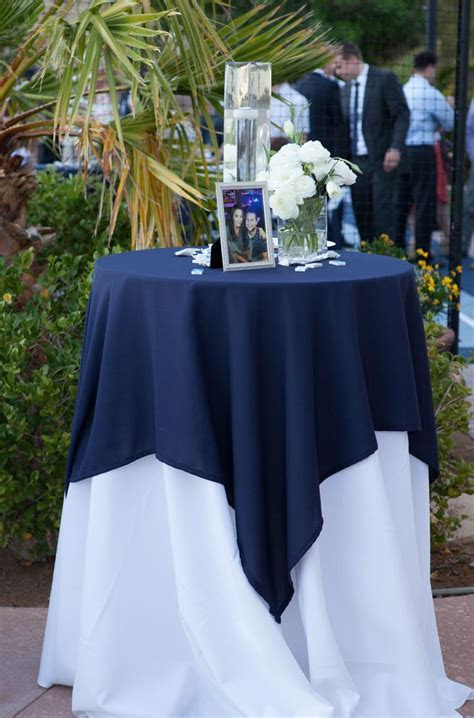 Navy blue & white cocktail table or sign in . #Wedding #