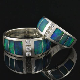 Australian Opal Wedding Ring Set with White Sapphires Opal