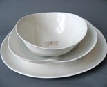 organic serving set, one dinner plate, one large bowl, one small bowl