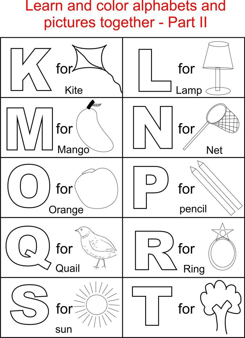 Alphabet Part II coloring printable page for kids: Alphabets ...