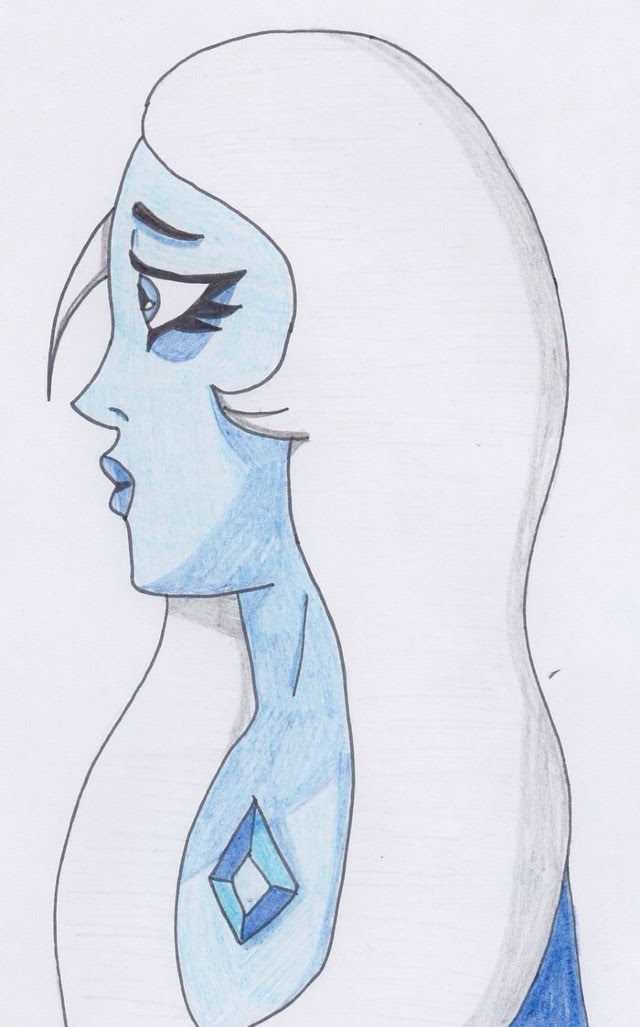 I haven't used colored pencils in AGES lol it feels so weird Anyway have a Blue Diamond from Steven Universe!