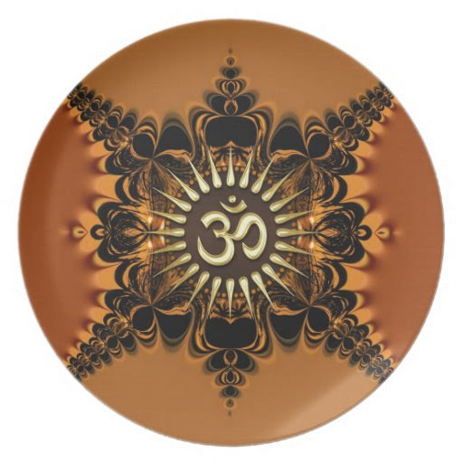 Golden Satin Lace OM Spiritual Art Custom Plate from Zazzle.