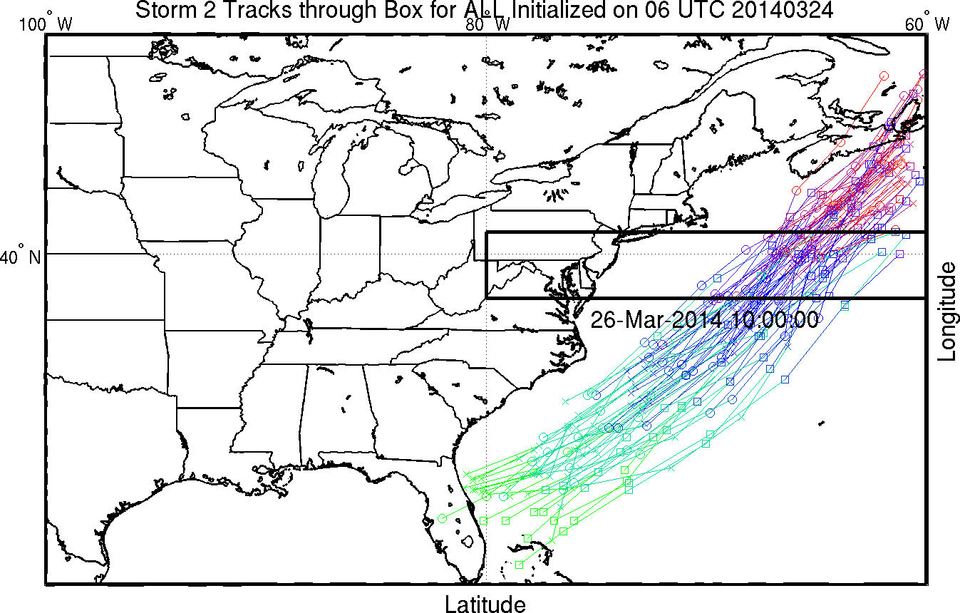 Track forecasts from different simulations of the Canadian and GFS (GEFS) model ensembles. (Stony Brook)