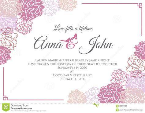 Wedding Card   Pink Rose Floral Frame Vector Template
