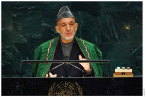 Afghan President Hamid Karzai at UN Headquarters in New York.
