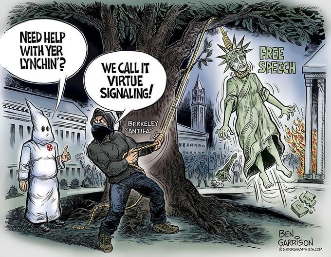 NEED HELP WITH YER LYNCHIN?WE CALL IT FREE SPEECH VIRTUE SIGNALING! BERKELEY BEN GARRISON ⓒ GRRRGRAPHICS.CO