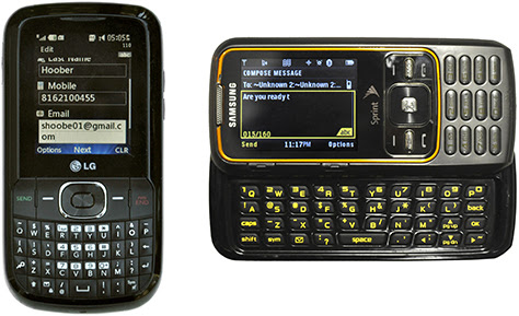 Figure 6—Two typical message phone–style feature phones, with hardware keyboards