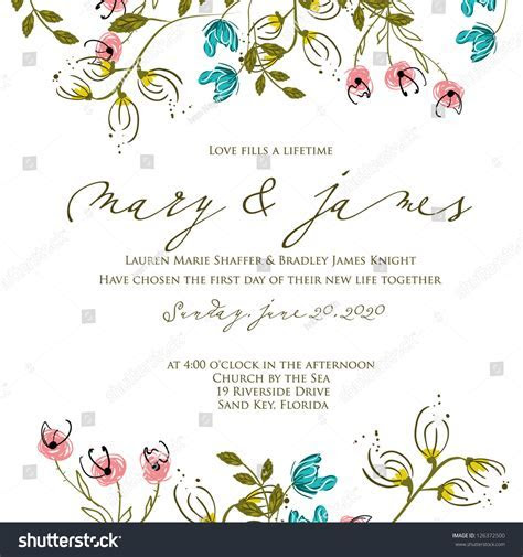 Invitation Wedding Card Abstract Floral Background Stock