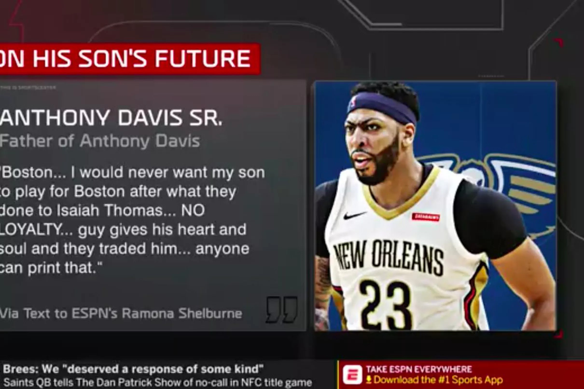 Anthony Davis Sr. says he would never want his son to play ...