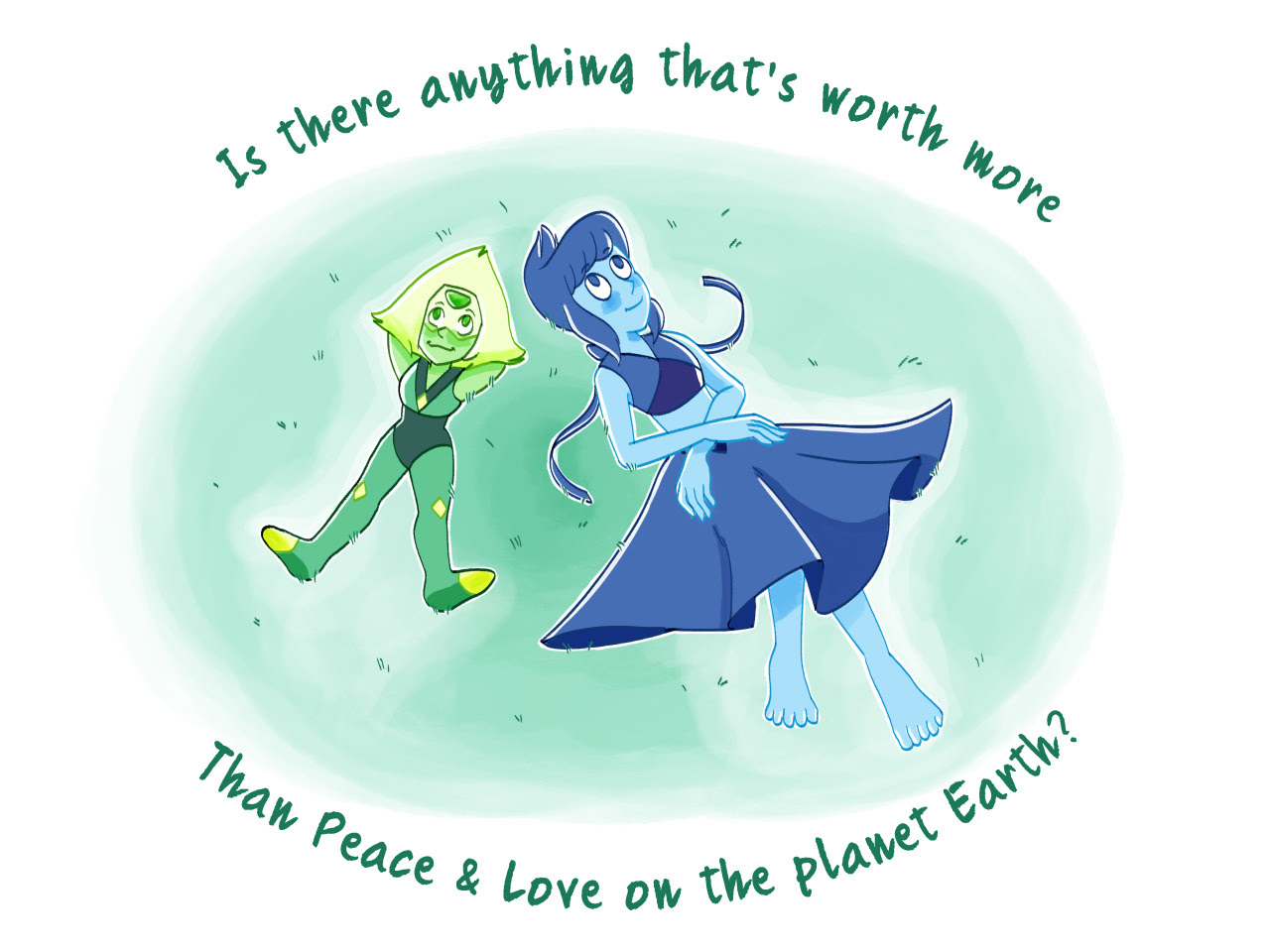 My birthday present for my little sister, featuring her two faves Peridot and Lapis Lazuli from Steven Universe!! They're just chillin', just some gals bein' pals (no they're not they're in love)