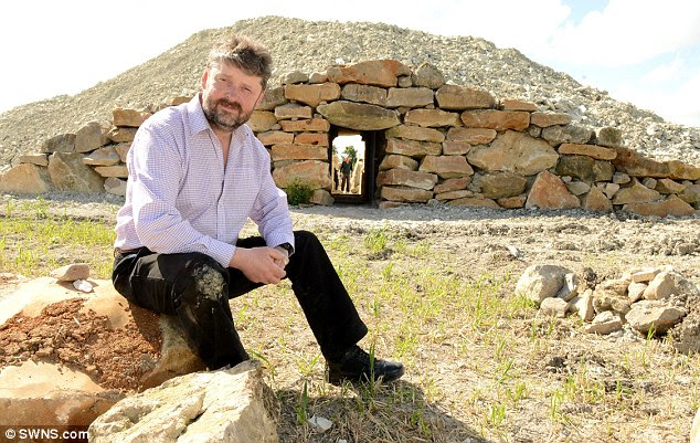 Daw (pictured), 52, said the project to recreate the resting place of our ancestors for the 21st century has proved a success, with 40 people signing up to be buried here at £1,000 ($1,680) each so far. He said it is 'quite a large' Neolithic long barrow for the Wiltshire countryside