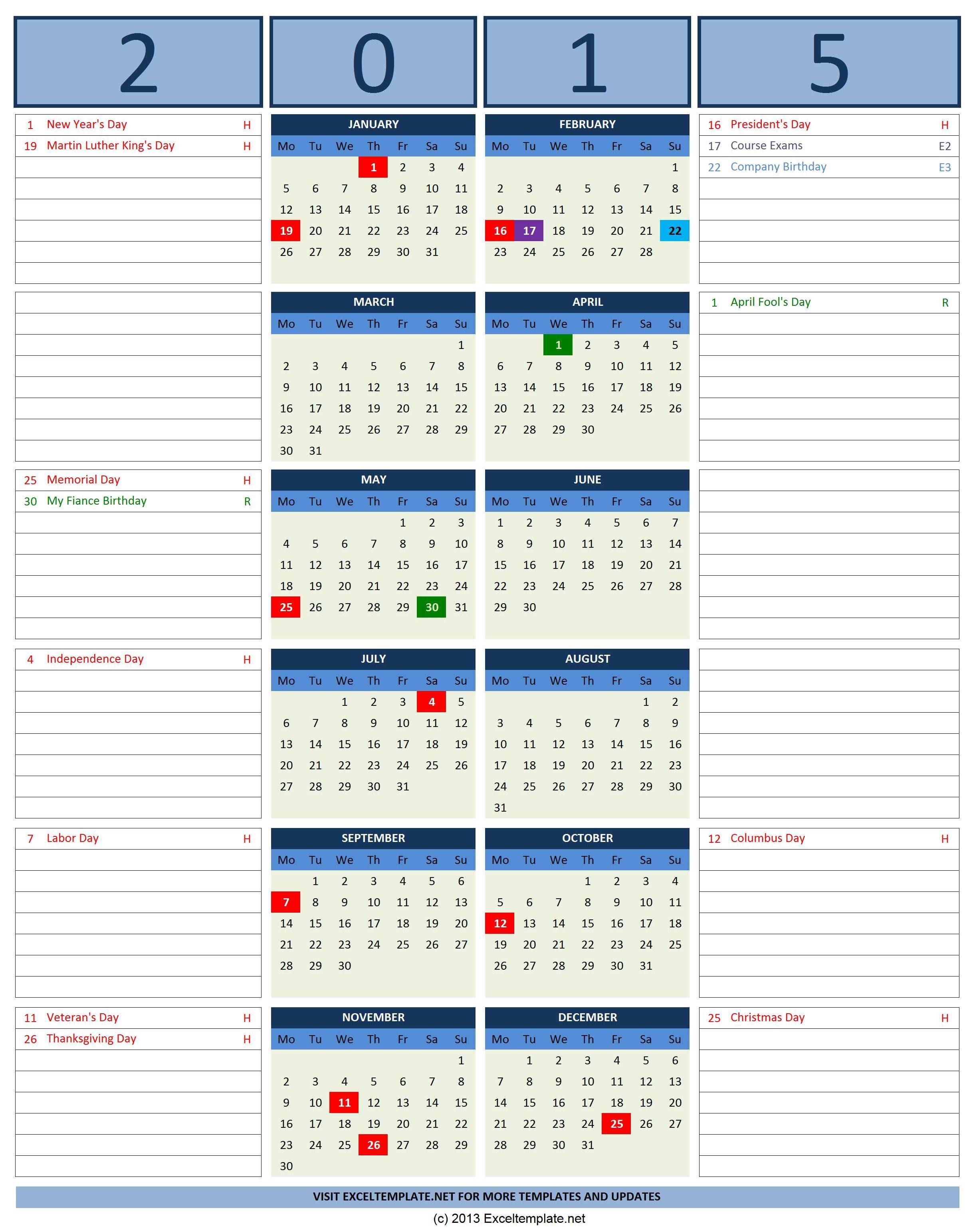 2016 Calendars | Excel Templates