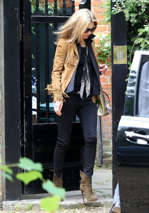 Le Fashion Blog Model Style Kate Moss Tan Fringed Suede Jacket Silk Neck Scarf Button Down Shirt Tee Black Skinny Jeans Olive Heeled Boots Via Popsugar