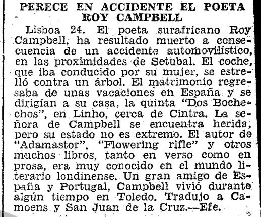 Noticia de la muerte de Roy Campbell. ABC del 25-4-1957