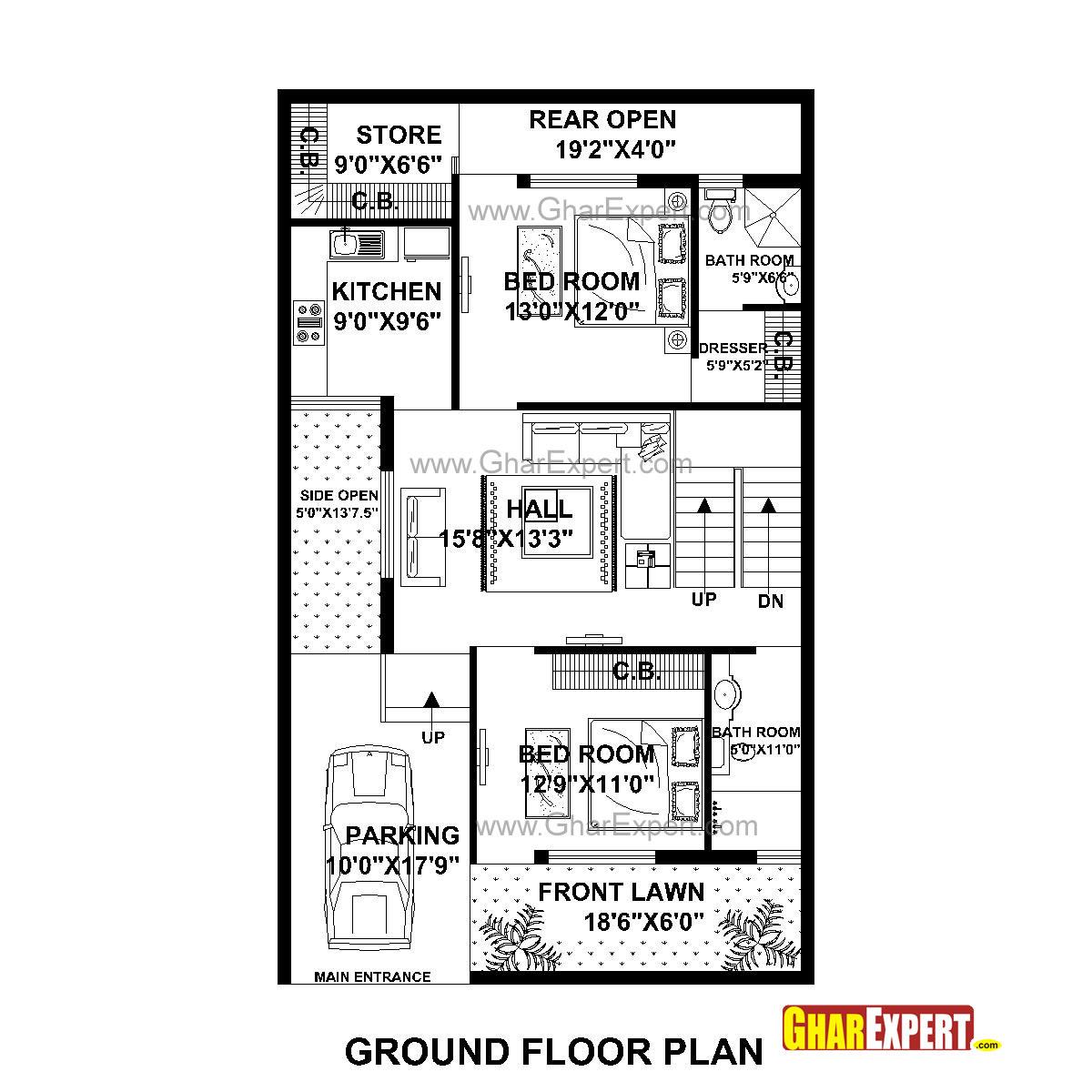 30 50 House Plans East Facing Elevation - Autocad