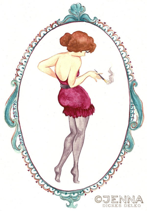 Pin up Party girl // Original Watercolor Illustration // christmas in july CIJ sale