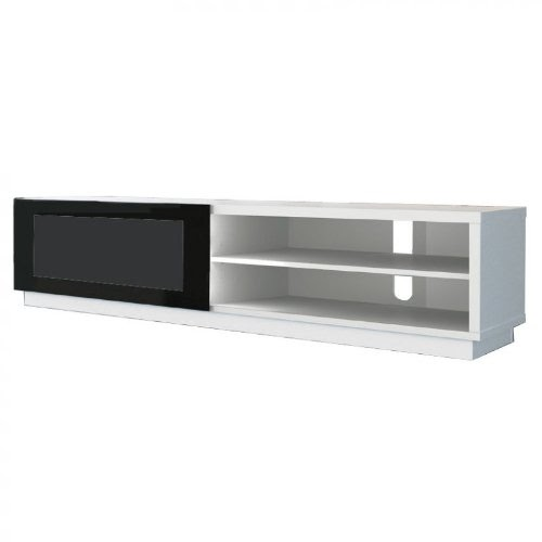 meubles tv de conti stile 1 blanc meuble hi fi avec vitre coulissante. Black Bedroom Furniture Sets. Home Design Ideas