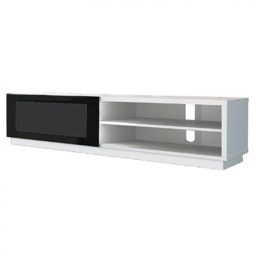 Meubles tv de conti stile 1 blanc meuble hi fi avec vitre coulissante - Meuble tv vitre ...