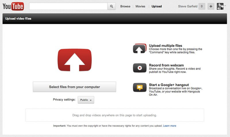 Upload your video - YouTube