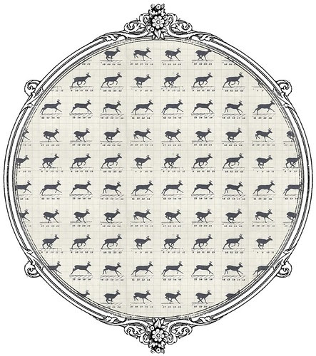 6 reindeer in motion LIGHT Vintage graph style -  free printable paper SAMPLE